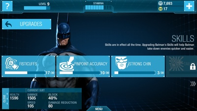 Batman Arkham Origins iOS Upgrade Skills