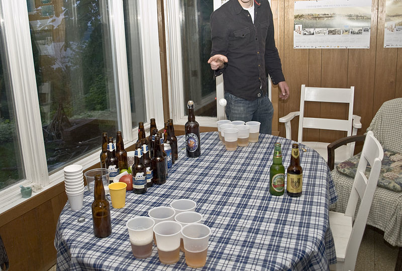 a discussion about the rules and history of beer pong game