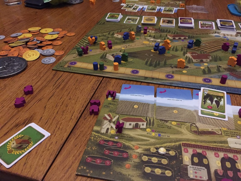 Viticulture, board game, playing pieces